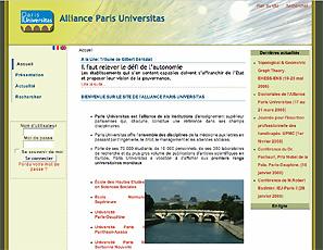 Vue de la page d'accueil du site