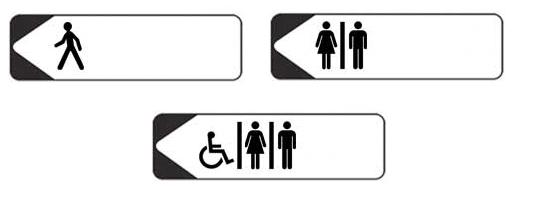 panneau Direction toilettes